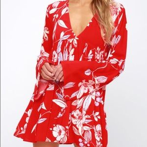 Free People Bella Red Floral Print Tunic